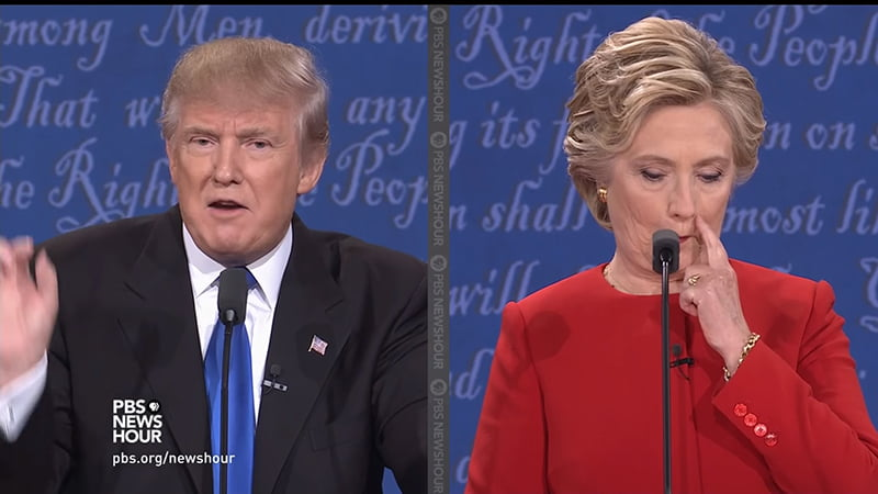"""Donald Trump & Hilary Clinton Presidential Debate Body Language Analysis. Trump remarks that Syria is being let off the hook """"can you imagine where defending Saudi Arabia and with all of the money they have we're defending them and they're not paying""""; Clinton scratches her face and looks down in a gesture of anxiety and possibly guilt."""