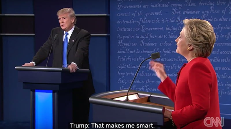 """Donald Trump & Hilary Clinton Presidential Debate Body Language Analysis. Hilary Clinton offers multiple reasons why Trump refuses to release his tax return and, claims his former returns reveal that he paid no taxes. Trump replies """"That makes me smart"""" and then reveals that he is actually feeling dread at the thought of being exposed."""