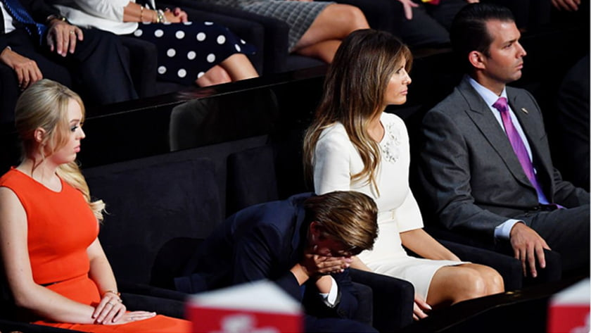 Second US Presidential Debate - Body Language Analysis - The Trump family during the debate. Barron Trump, age 10, drops his head suggesting either tiredness, disbelief, shame or humiliation