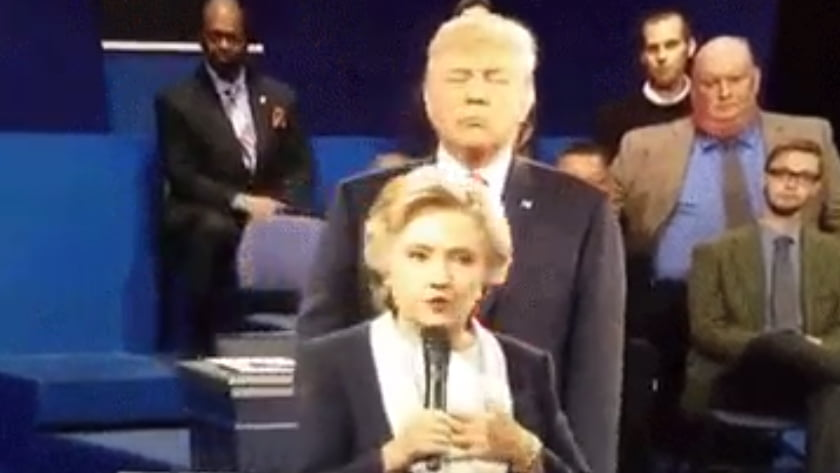 Second US Presidential Debate - Body Language Analysis - Trump invades Clinton's personal space and follows her around very closely as he also attempts to dominate and intimidates Clinton