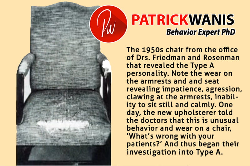Type A personality - the worn out 1950s chair of Drs. Friedman & Rosenman's patients