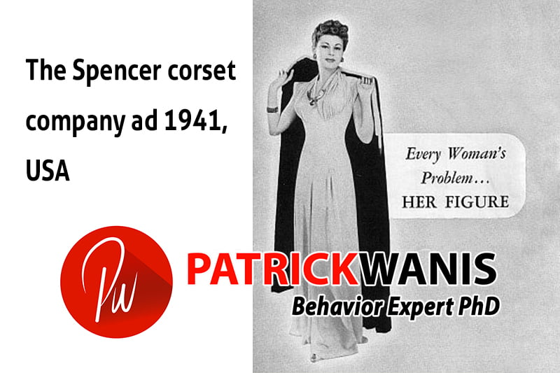 "Perfectionism and brainwashing in advertising: 1941 ad by Spencer corsets ""Every Woman's Problem...HER FIGURE"""